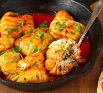 Sakiewki kapuściane z rybą i ryżem